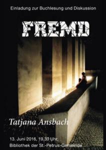 Flyer für Lesung von Tatjana Ansbach am 13.6.2016